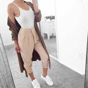 pants,white,beige,white tank top,forever 21,white crop tops,coat,tan,nude,jacket,long jacket,trench coat,stan smith,adidas,adidas superstars,adidas originals,tank top,baggy pants,nude pants,khaki pants