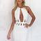 White halter plunge front cut out bodycon dress