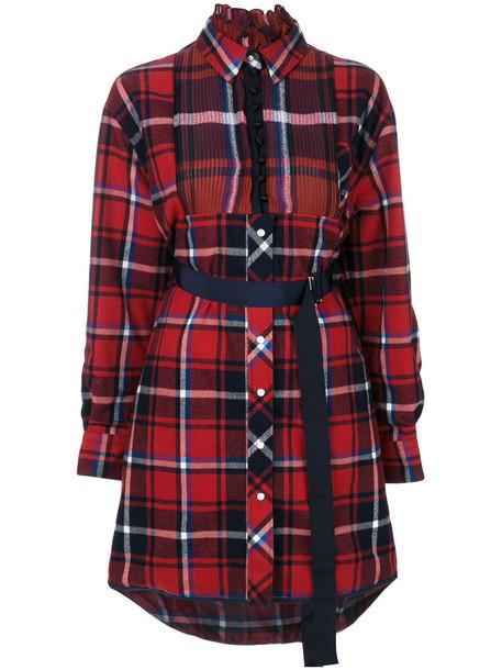 Sacai dress shirt dress women cotton red