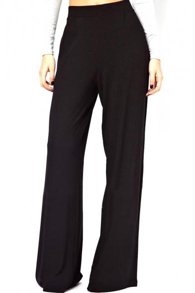 Cool black wide leg knitted high waist pants