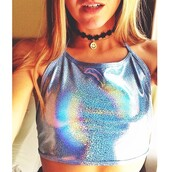 top,holographic,halter neck,trippy,choker necklace,rave,burning man,colorful,rainbow,festival season,shirt