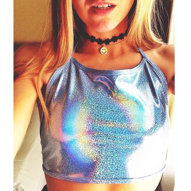 top holographic halter neck trippy choker necklace rave burning man colorful rainbow festival season shirt
