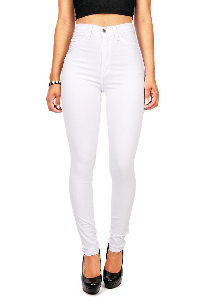 New womens white high waist rise skinny jeans skinny long soft denim vibrant
