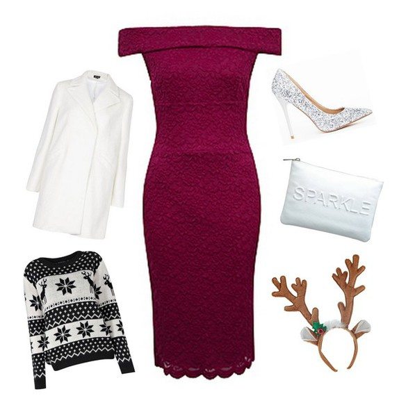 deer christmas sweater blogger bag peexo burgundy dress stilettos sparkle makeup bag coat costume