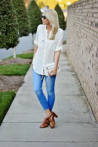 b soup blogger blouse jewels sunglasses bag jeans shoes