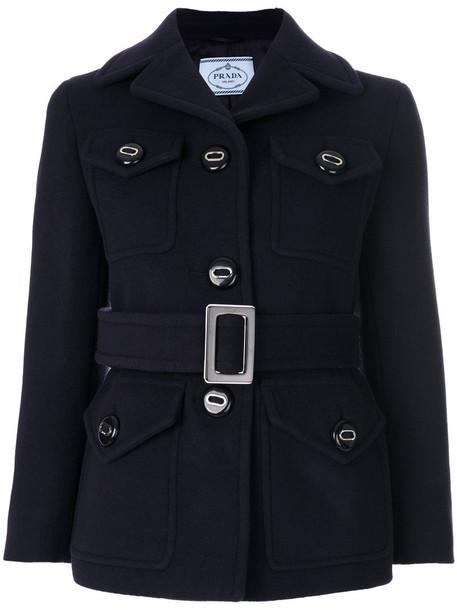 Prada coat women blue wool