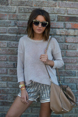 lovely pepa blogger shorts jumper sequin shorts cat eye