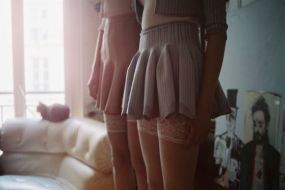 clothes baby blue pink tumblr skirt stockings vintage