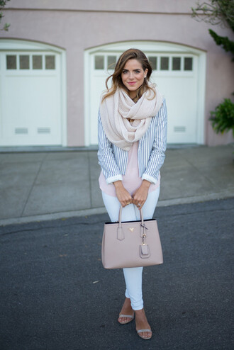 gal meets glam blogger jacket stripes purse white jeans