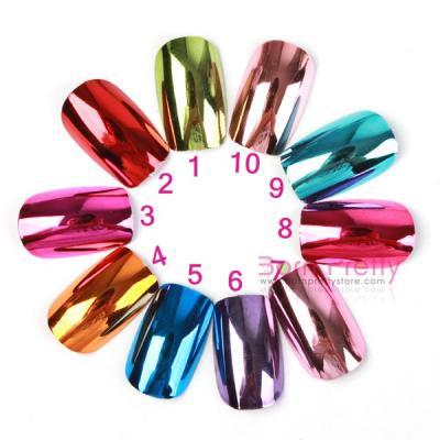 Usd $7.96 100pcs pure color electroplating glossy full false acrylic uv gel nail art tips