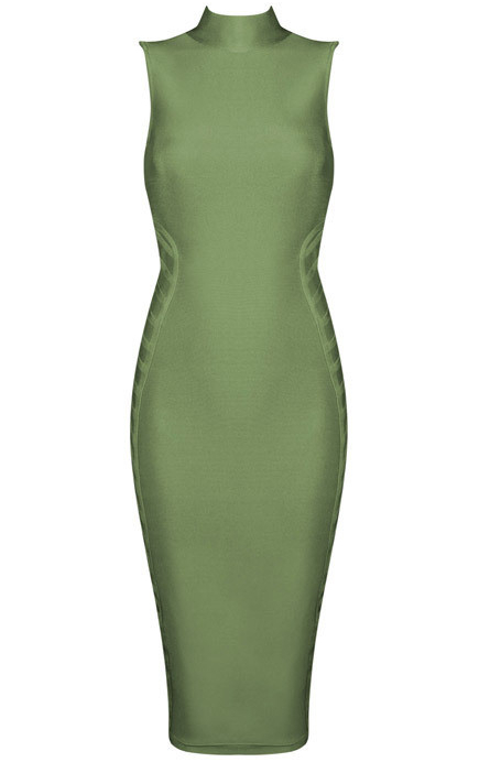 HighNeck Midi Bandage Dress Green