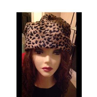 beanie leopard print warm