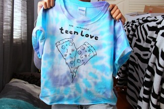 t-shirt teenagers teen love pizza love tie dye funny band t-shirt tumblr shirt blue and purple tie dye sweater blouse the ultimate teen love pizza shirt