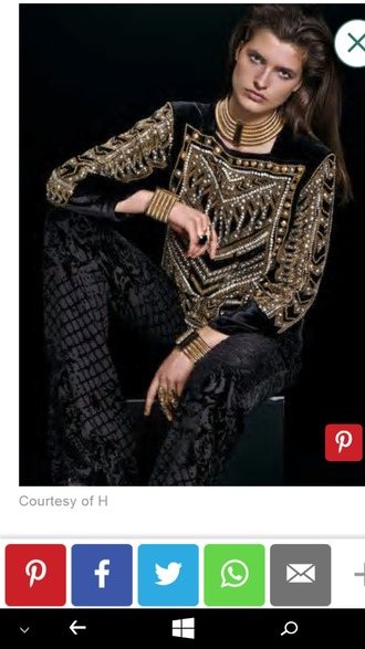 shirt black and gold embroidered embellished pearl shiny gold chocker necklace gold bracelet gold gold ring balmain black pant wavy hair h and m