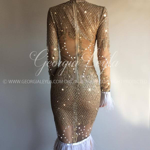 250 Swarovski Crystals made the Pretty Dazzling Dress - crystals hand applied in a Luxurious Sheer Gold Glitter Fabric - GeorgiaLeyla Design