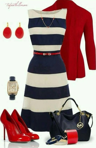 dress blue white red black gold stripes shoes heels high heels handbag striped dress jumper cardigan vest earrings watch necklace jewels jewelry bracelets sleeveless sleeveless dress michael kors