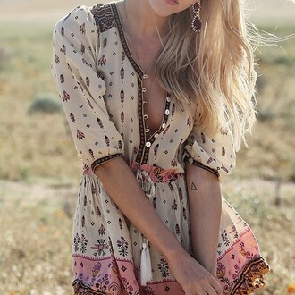 dress fashion style girly girl pattern patterned dress hipster hippie hippie chic boho blonde hair place summer outfits summer dress tattoo chiffon