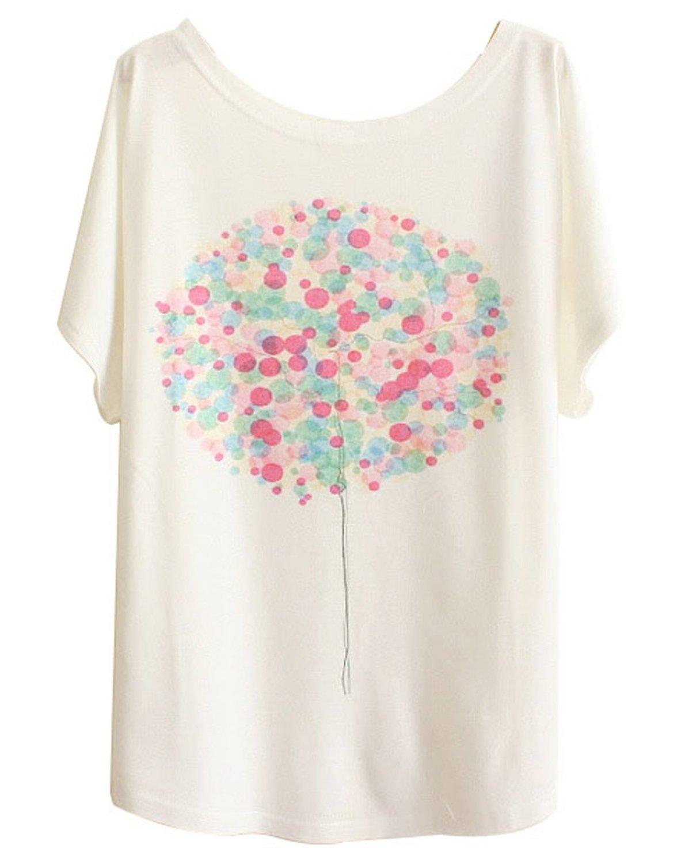 T shirt printing at white rose - Andi Rose Womens Tee Short Sleeve Loose Printing White Funny T Shirts T Shirt Balloon 1000