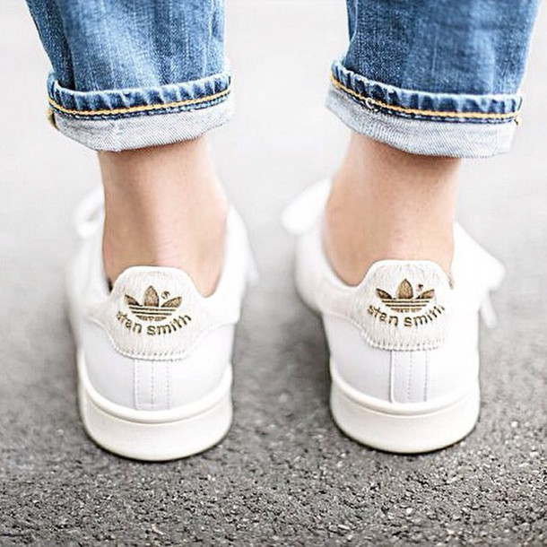 adidas shoes boho stan smith gold shoes streetstyle hippie demin stan smith  white sneakers low top bdb8884ea