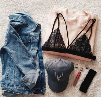 jacket denim denim jacket cute fashion fashionista cute jacket love lovely pretty amazing hot trendy sexy intimiates lingerie lace lace lingerie blue navy black flowers floral baseball cap cap girly
