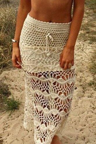 skirt crochet white maxi skirt summer beach boho gypsy fashion style resort