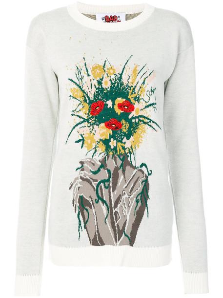Bad Deal - bouquet intarsia jumper - women - Acrylic/Viscose/Wool - S, White, Acrylic/Viscose/Wool