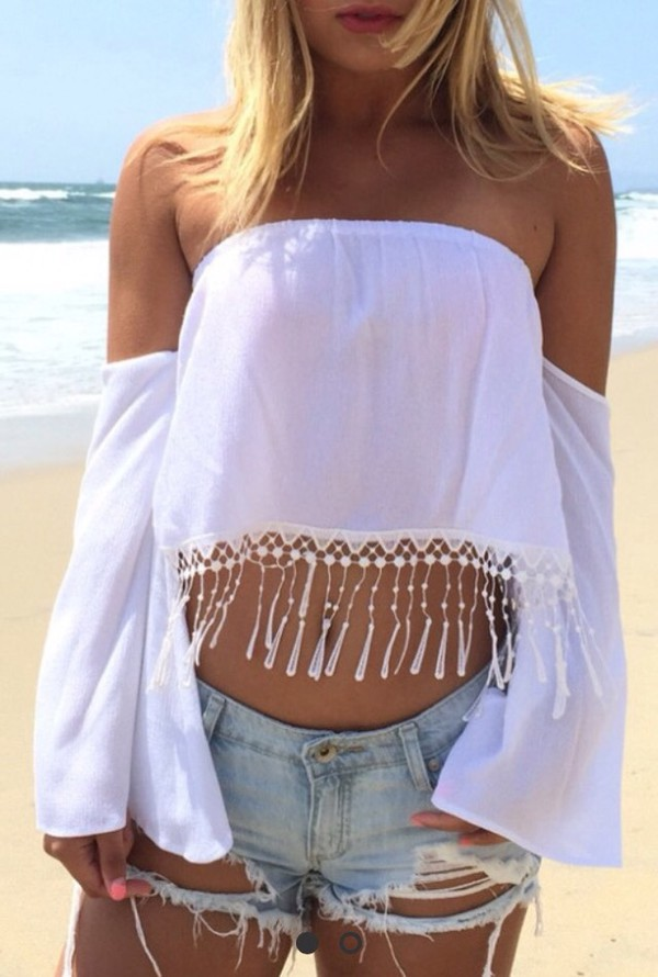 White Off The Shoulder Loose Fitting Blouse White Blouses