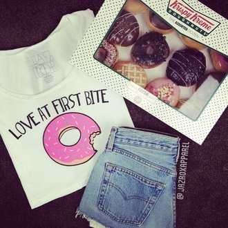 t-shirt jazrox crop tops lookbook tumblr girly trendy food donut hipster fashion summer outfits summer cool