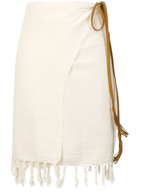Caravana skirt wrap skirt women leather white cotton