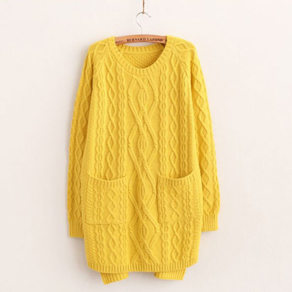 high-low sweater retro sweet solid color