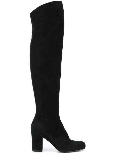 Antonio Barbato heel chunky heel high women thigh high boots leather suede black shoes
