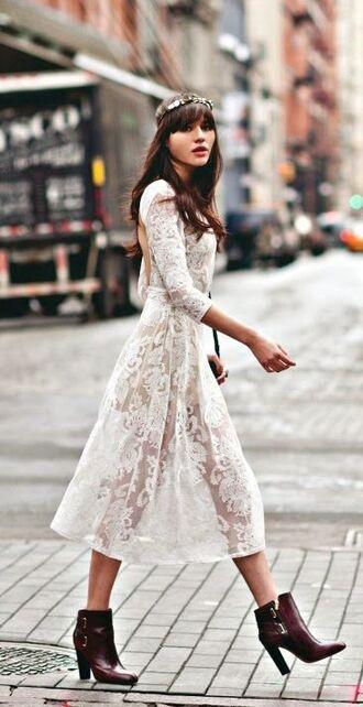 dress white lace dress lace dress white dress lace white lace midi dress backless dress ankle boots hair adornments flower crown long sleeve dress see through dress