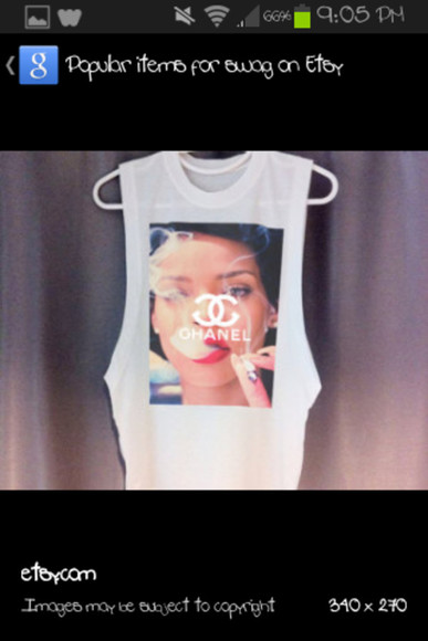 red lips tank top chanel rihanna smoking