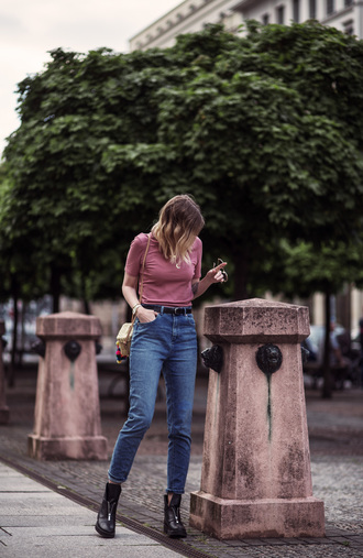 top tumblr ribbed top pink top jeans denim blue jeans boots ankle boots bag basket bag