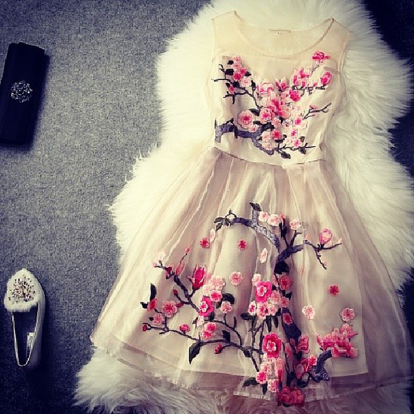 dress hot pink white dress brown flowers branches