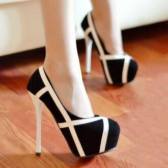 straps black gorgeous high heels girl suede nubuck black white shoes heels geometric platform high heels black heels white heels simple chic shoes less is more keep it simple need it please need these heels beautiful