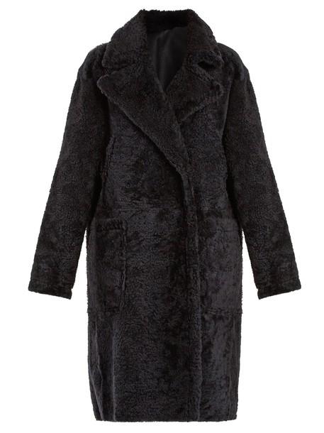 Yves Salomon coat dark navy