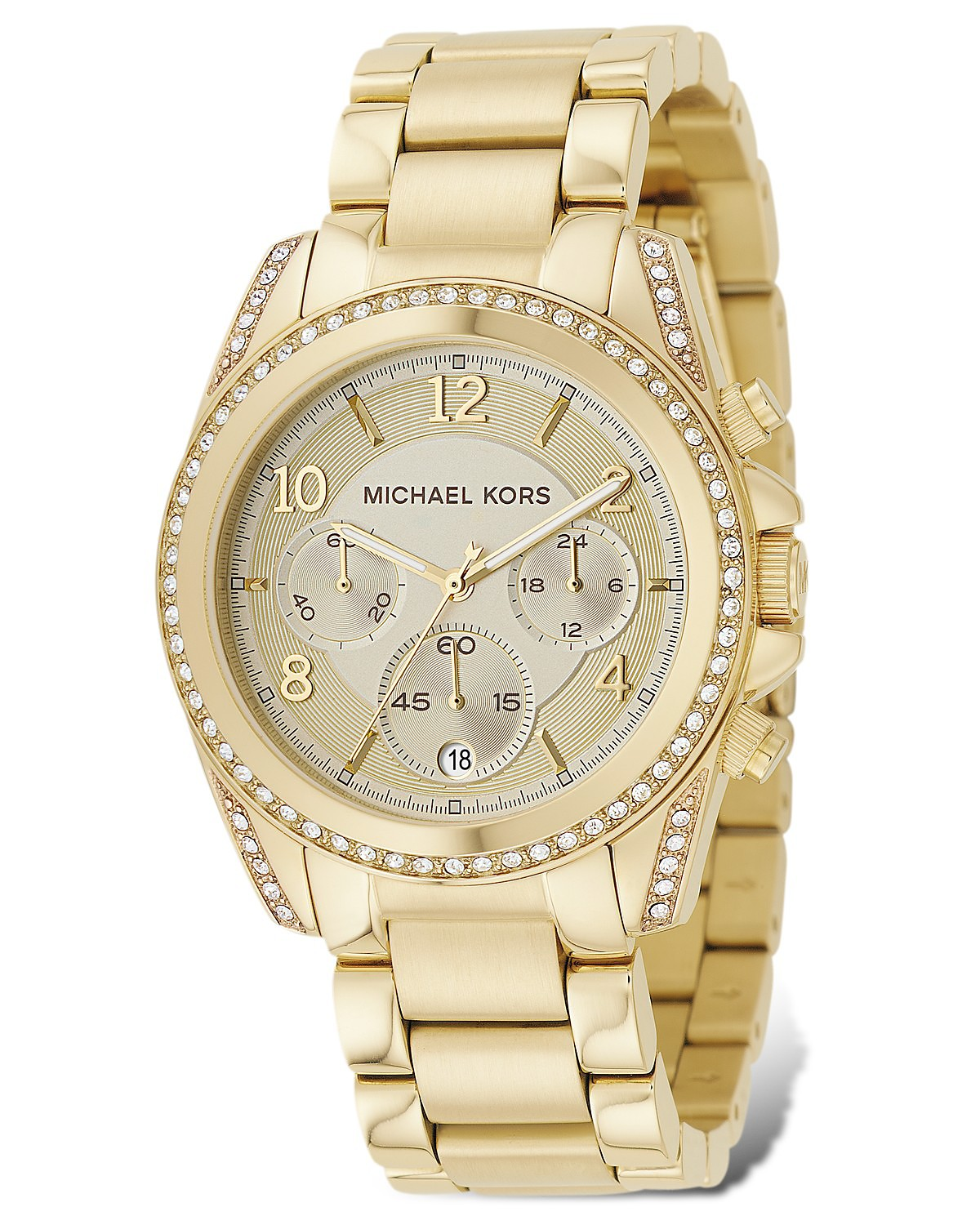 Michael Kors Gold Plated Stainless Steel Chronograph Watch with Clear Stones on Bezel, 39 mm | Bloomingdale's