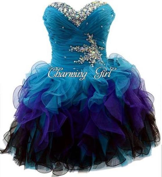 dress prom blue rhinestones