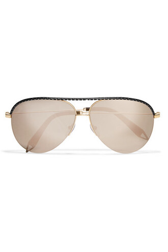 style sunglasses mirrored sunglasses gold leather black
