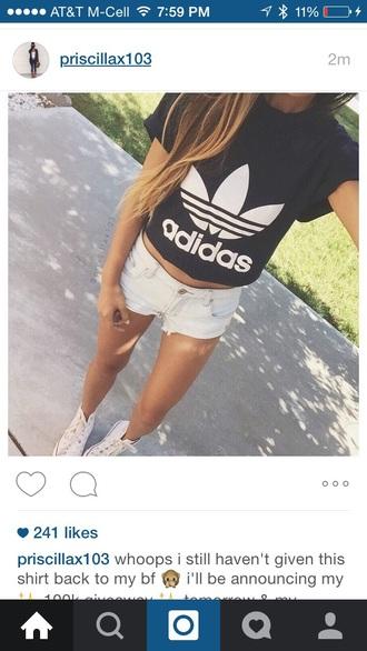blouse black adidas jewels