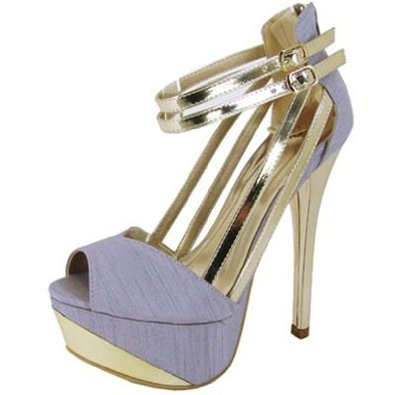 Amazon.com: Qupid Thai Silk Sexy Peep Toe Lavender/gold Stilettos Pumps Qucount-05: Shoes