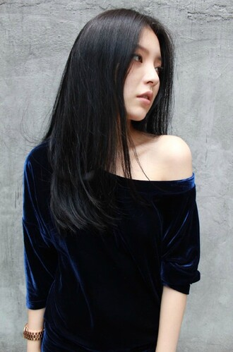 top asian fashion japanese fashion korean fashion kpop blue velvet shirt mid one shoulder mid length sleeves midnight blue asia