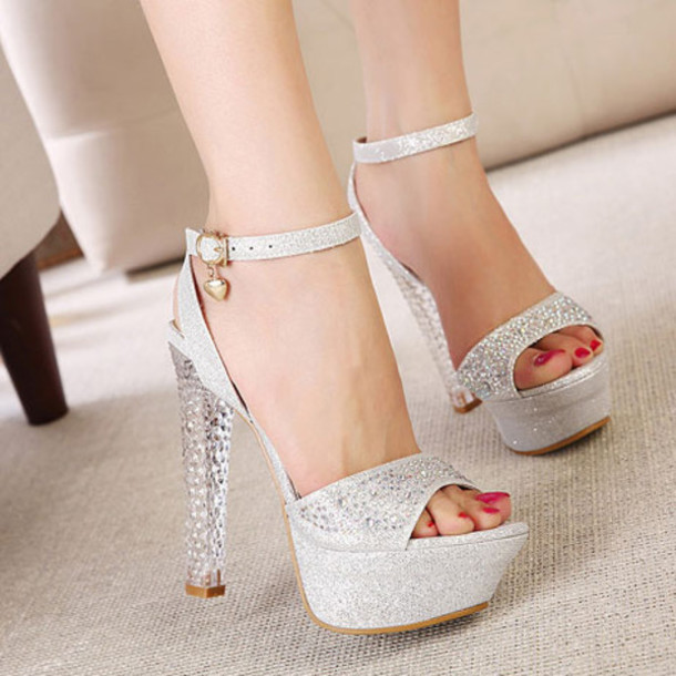 Shoes: sandals high heels cute silver shoes prom dress