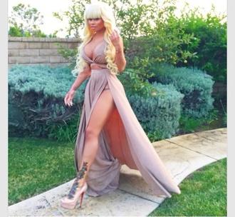 dress khaki side split maxi dress summer dress
