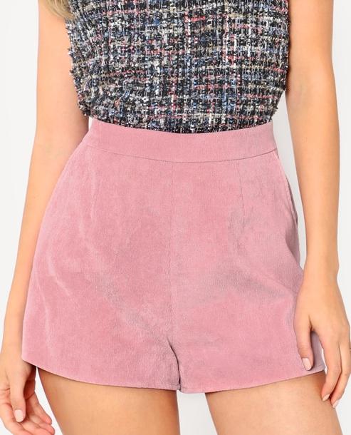 shorts girly pink corduroy
