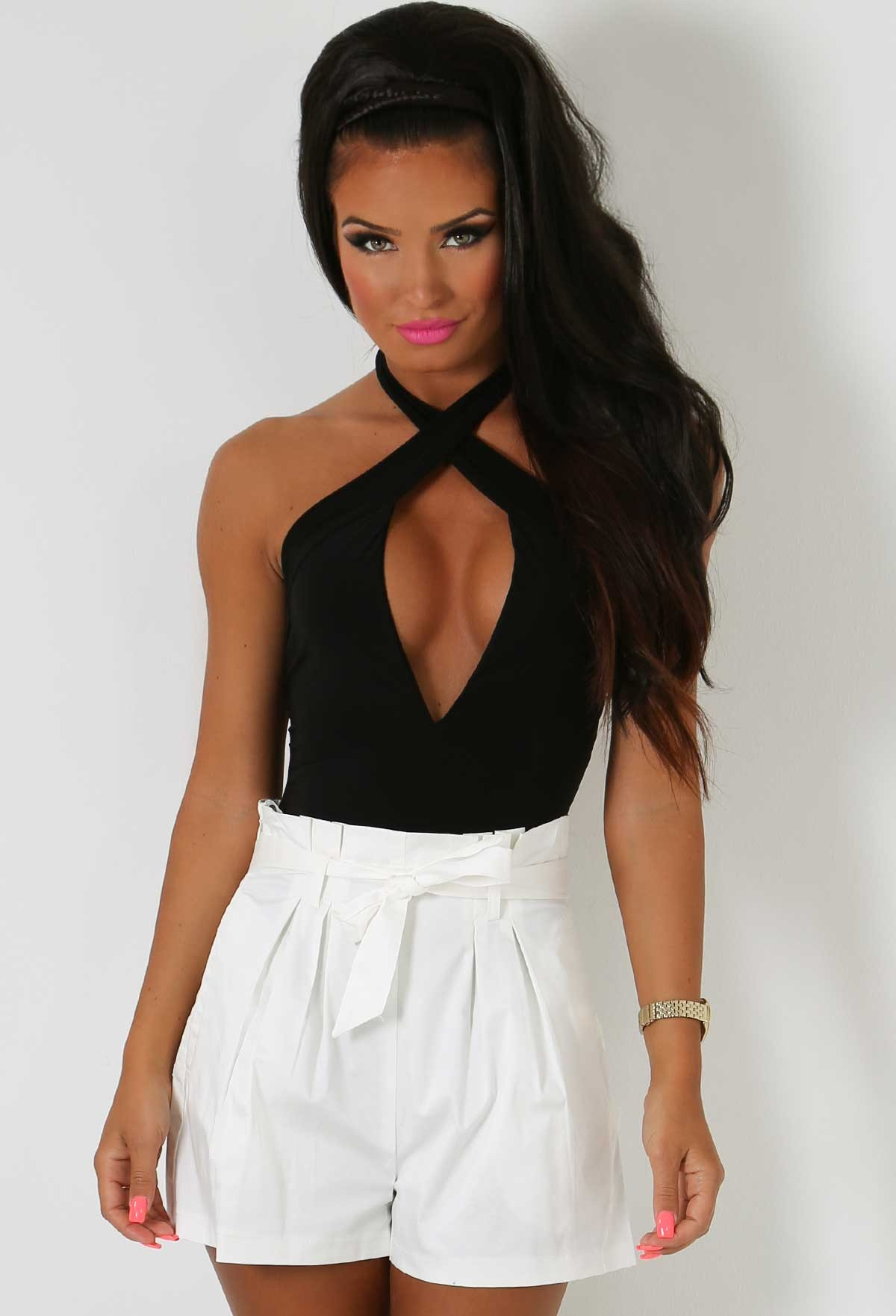 White High Waisted Tailored Shorts   Pink Boutique