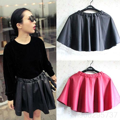FASHION! Girl's Leather Look A line matt Skater Pleated Mini SKIRT Short WF 37231-in Skirts from Apparel & Accessories on Aliexpress.com