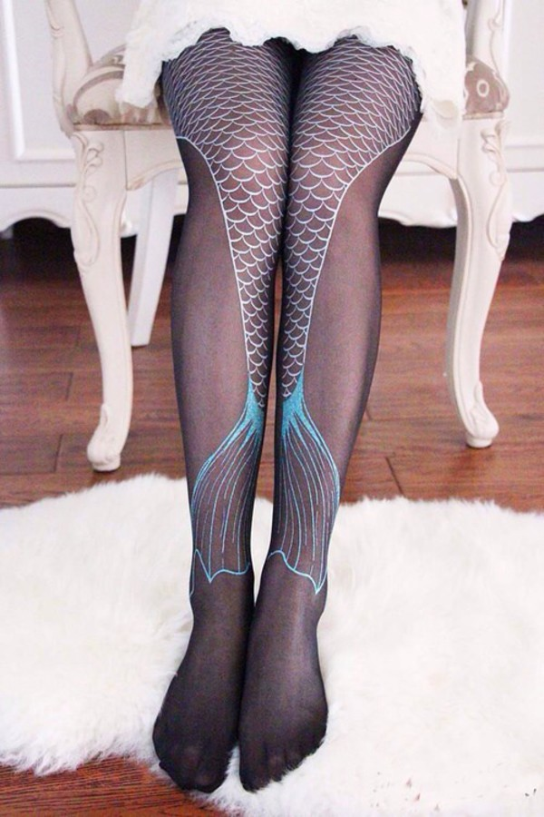 leggings black blue mermaid cute fashion style punk goth hipster tights halloween accessory mermaid tights