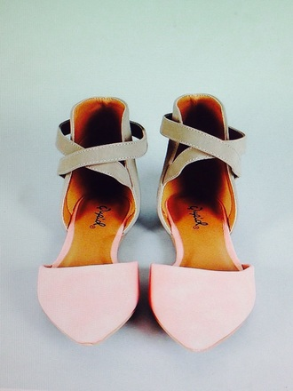 shoes pink flats nude camel straps cute qupid girly
